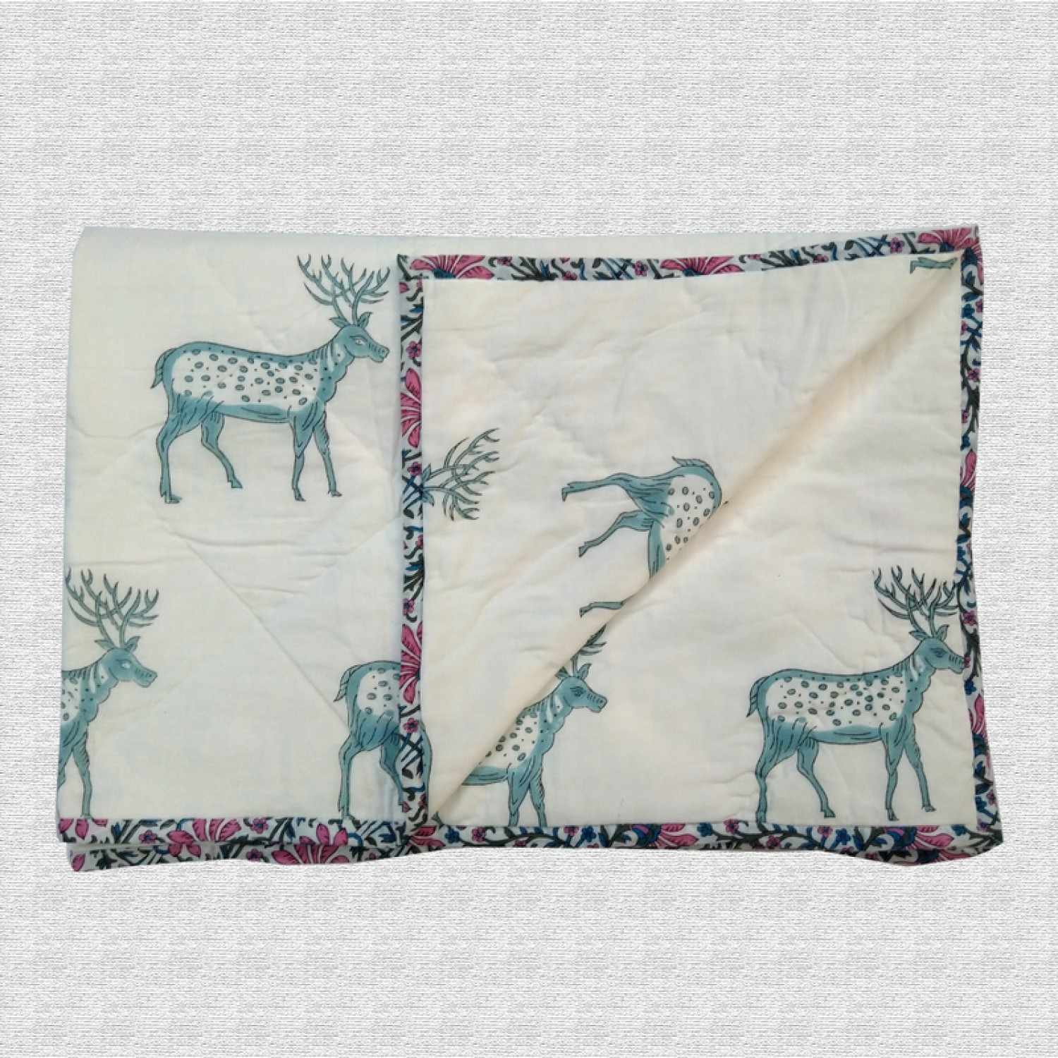 Deer Print Hand Block Printed Hand Quilted Cotton Baby Quilt