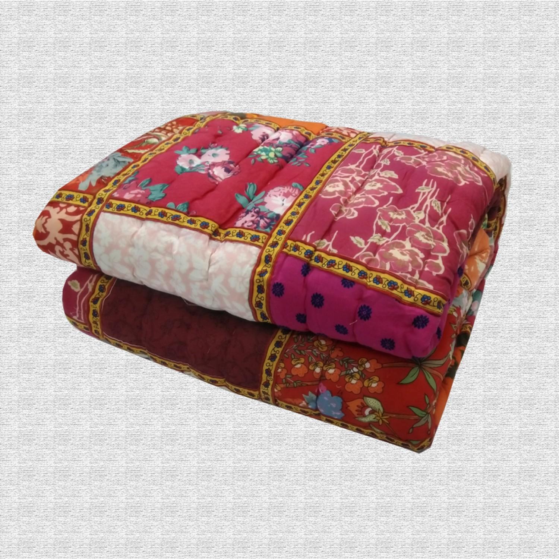 Hand Block Print & Patchwork Double bed Quilt